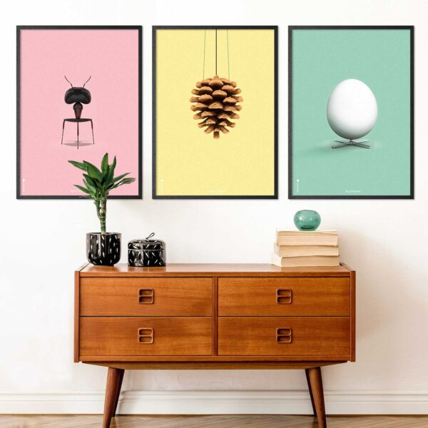 Danish furniture posters with artichoke, egg and ant