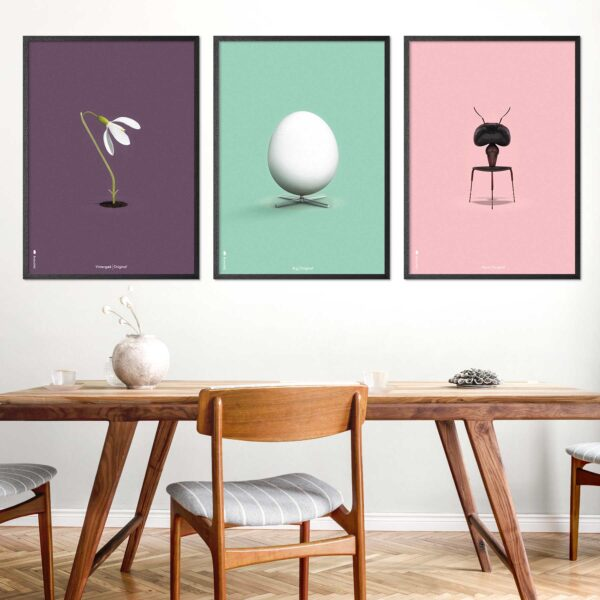 Danish furniture posters with The Egg, The Ant and The Snowdrop