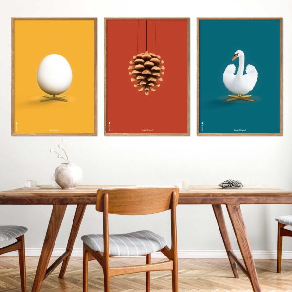 Posters with Egg, Artichoke and Swan in yellow, blue and red