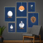 Poster wall, Brainchild design posters, dark blue