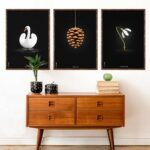 Swan, Artichoke and Snowdrop, black posters from Brainchild