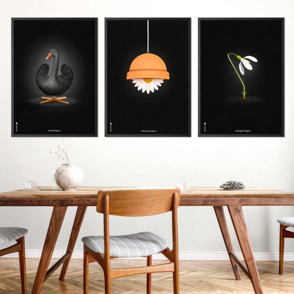 Swan, Flowerpot and Snowdrop. Danish design posters from Brainchild