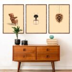 Brainchild posters with Danish furniture classics, papa bear, ant and artichoke