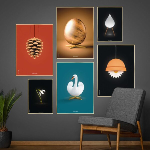 Brainchild picture wall with design posters, Swan, Artichoke and Egg