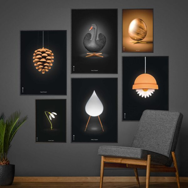 Picture wall with Brainchild posters with Eggs, Artichoke and Swan, design posters