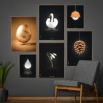 Picture wall with Brainchild posters with Egg, Artichoke and Swan, design posters