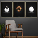 brainchild poster wall with the swan, the artichoke and the egg