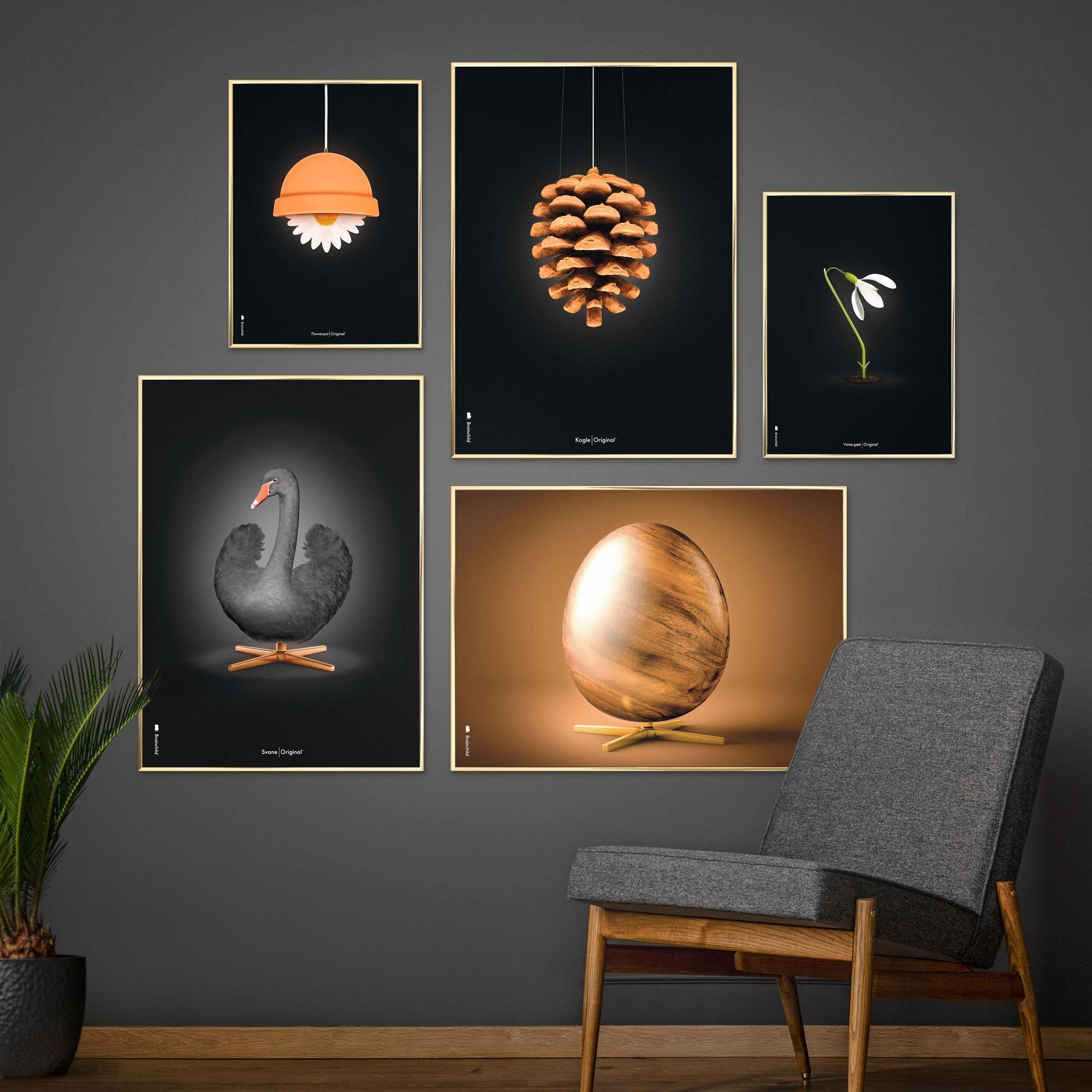 Picture wall with Brainchild posters, 50x70 and 30x40 cm.