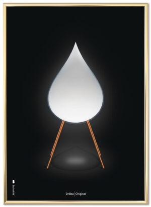 Brainchild drop poster, black background, brass gold poster frame