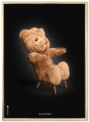 Brainchild papa bear poster, black background, gold frame